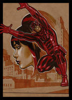 daredevil and black widow by LOPEZMICHAEL