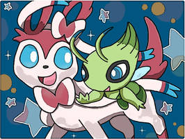 Sylveon and Celebi by 29steph5