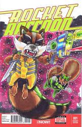 Rocket Raccoon and Ch'p (colors) by Pencilero