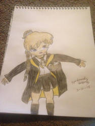 My sister as a Hufflepuff Hogwarts House student by nightangel5431
