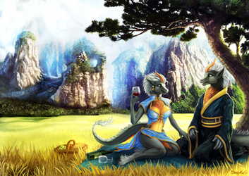 Painting Commission - A lovely picnic. by Shalinka