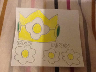 Princess Daisy Crown ,Earbeads And Brooch. by Philip1234567891