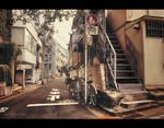 Side alley in Tokyo by Pajunen