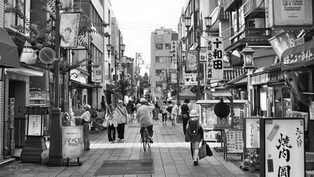 Asakusa Street Life (bw) by Pajunen