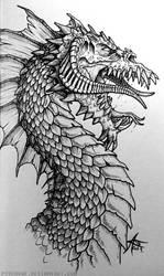 Inktober 2016 - Black Dragon by psycrowe