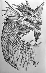 Inktober 2016 - Blue Dragon by psycrowe