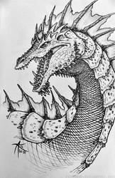 Inktober 2016 - Green Dragon by psycrowe