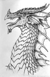 Inktober 2016 -Red Dragon by psycrowe