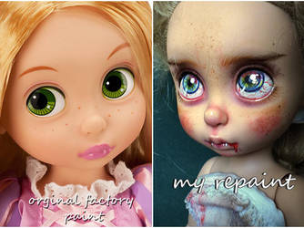 Disney Animators Rapunzel Vampire before and after by kamarza