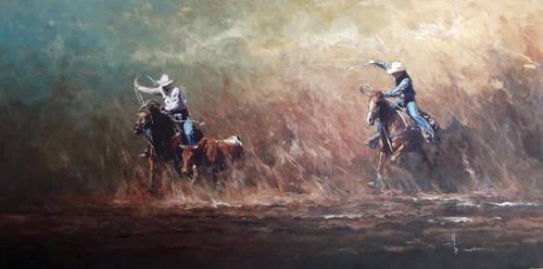 'Almost Got Him' Oil on Canvas BY ROBERT HAGAN by robert-hagan