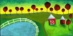 Farm Acrylic Painting by Angela-Vandenbogaard