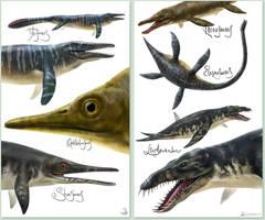 Mesozoic sea beasts by EldarZakirov