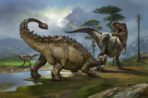 Ankylosaurus vs. T-Rex by EldarZakirov