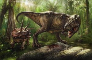 Tyrannosaurus and Triceratops by EldarZakirov