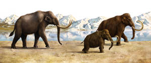 Mammoths and ancient elephant by EldarZakirov