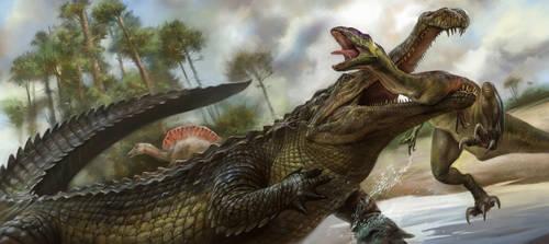 Sarcosuchus and Prey by EldarZakirov