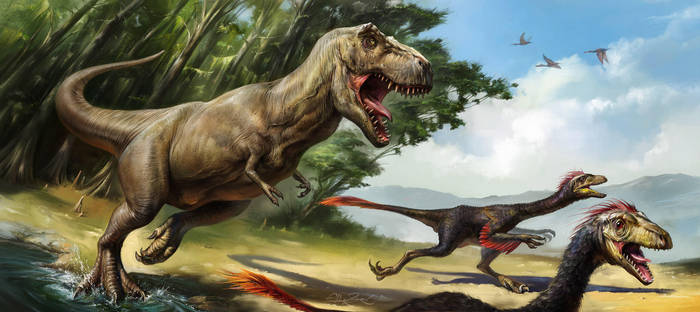 Tyrannosaurus and Prey by EldarZakirov