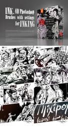 INK. 40 Photoshop Brushes for Inking + Bonus by EldarZakirov