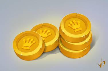 Icon golden coin by Frienddesign