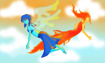 Lapis Lazuli and Flame Princess by salamander0807