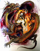 Dragon and Tiger by AzureWyvern