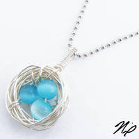 Blue Nest Egg Pendant by Create-A-Pendant