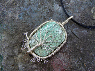 Blue Fire Agate Tree Pendant by Create-A-Pendant