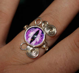 Adjustable Wire Wrap Purple Dragon Eye Ring by Create-A-Pendant