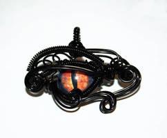 Black Wire Wrap Eye of Sauron Pendant by Create-A-Pendant