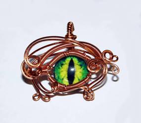 Copper Wire Wrap Green Glass Dragon Eye Pendant by Create-A-Pendant
