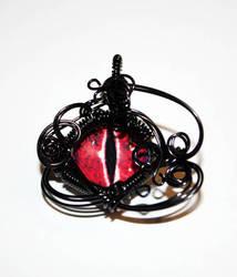 Black Wire Wrap Red Glass Dragon Eye Pendant by Create-A-Pendant