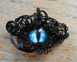 Black Wire Wrap Blue Glass Dragon Eye Pendant by Create-A-Pendant