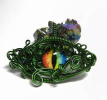 Green Wire Wrap Dragon Eye Pendant by Create-A-Pendant
