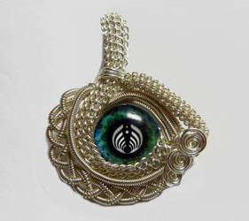 Custom Wire Weaved Glass Eye Pendant by Create-A-Pendant