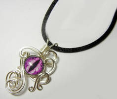 Wire Wrap Purple Glass Dragon Eye Pendant by Create-A-Pendant