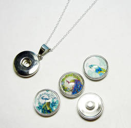 Peacock Interchangeable Snap On Pendant Set by Create-A-Pendant