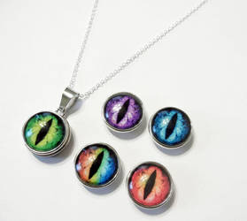 5 Interchangeable Glass Dragon Eye Necklace by Create-A-Pendant