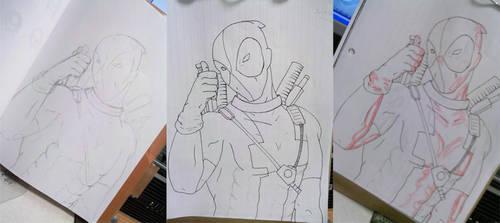 DeadPool WIP pencil, ink, hl by DeadHorse-Yuki