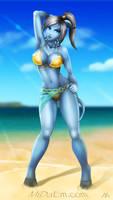 Dinaru in the beach WOW fanart by mizukoiuchi