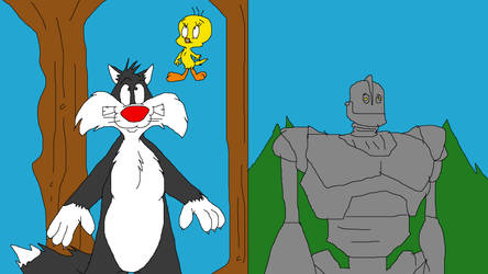 Sylvester and Tweety and The Iron Giant by TomArmstrong20