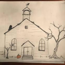 Inktober creepy church by DeweyVMonsters