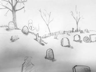 Spooky graveyard by DeweyVMonsters