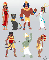 Egyptian gods designs by Endless-Ness