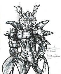 Armour Dragoneer Sketch by KrystallWolvelt