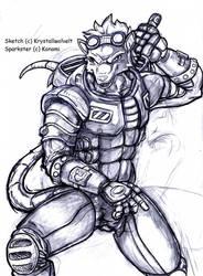 sketch anthro sparkster by KrystallWolvelt