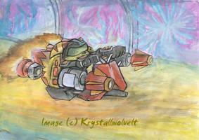 Ratchet on the hoverbike by KrystallWolvelt