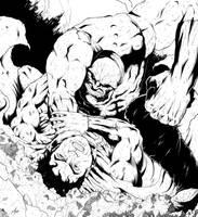 Superman vs. Darkseid Inks by adammiconi