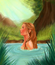 Mermaid in the Forest Lake by Elfiore
