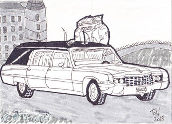 Inktober 2018 Day 6 - Adam's Hearse by TheOneVeyronian