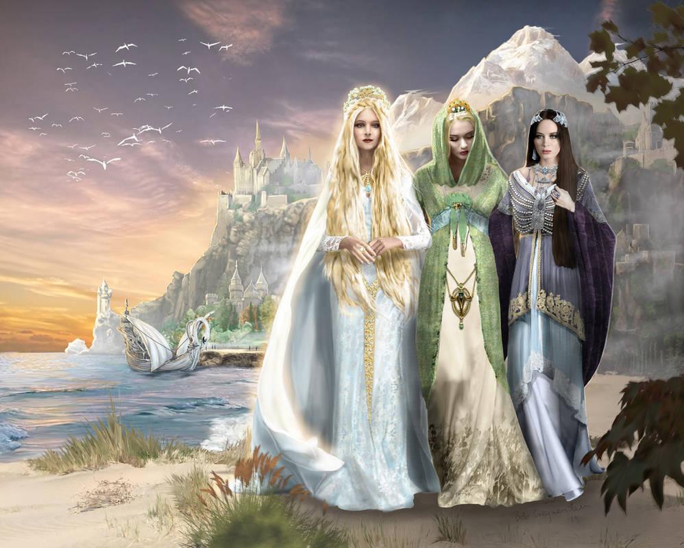 A last stroll, Galadriel, Celebrian and Arwen by bobgreyvenstein